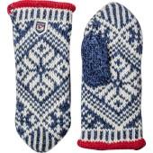 Hestra nordic wool mitt mid blue offwhite